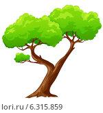 Купить «Зеленое дерево со стволом в виде сердца на белом фоне», иллюстрация № 6315859 (c) Алексей Зайцев / Фотобанк Лори