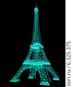 Купить «3D каркас Эйфелевой башни», иллюстрация № 6325375 (c) Guru3d / Фотобанк Лори