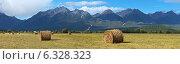 Панорама Тункинской долины с убранными полями на фоне гор Восточного Саяна солнечным августовским днем. Стоковое фото, фотограф Виктория Катьянова / Фотобанк Лори