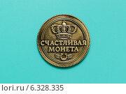 Купить «Сувенирная продукция. Счастливая монета.», фото № 6328335, снято 27 августа 2014 г. (c) Андрей Забродин / Фотобанк Лори