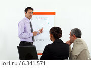 Купить «Man stood by flip-chart giving presentation to colleagues», фото № 6341571, снято 1 июня 2011 г. (c) Phovoir Images / Фотобанк Лори