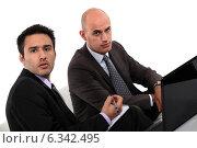 Купить «Businessmen looking at a laptop», фото № 6342495, снято 20 мая 2011 г. (c) Phovoir Images / Фотобанк Лори