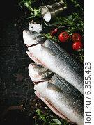 Купить «Свежая рыба с зеленью, солью и помидорами на темном фоне», фото № 6355423, снято 14 июня 2014 г. (c) Natasha Breen / Фотобанк Лори