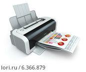 Купить «Printer prints business report on white isolated background.», фото № 6366879, снято 23 мая 2018 г. (c) Maksym Yemelyanov / Фотобанк Лори
