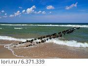 Купить «Морской пейзаж с волнорезом», фото № 6371339, снято 20 июля 2013 г. (c) Сергей Трофименко / Фотобанк Лори