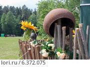 Купить «Плетень с горшком и подсолнухом», фото № 6372075, снято 7 июня 2014 г. (c) Олег Зоркий / Фотобанк Лори