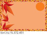 Осенний фон с листьями и солнцем. Стоковая иллюстрация, иллюстратор VahanN / Фотобанк Лори