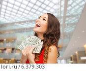 Купить «woman in red dress with us dollar money», фото № 6379303, снято 22 сентября 2013 г. (c) Syda Productions / Фотобанк Лори