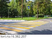 Купить «Пешеходный переход с желтыми и белыми полосами и знак пешеходного перехода», фото № 6382207, снято 9 сентября 2014 г. (c) Victoria Demidova / Фотобанк Лори