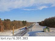 Купить «Зимний пейзаж с электричкой», фото № 6391383, снято 2 февраля 2014 г. (c) Татьяна Грин / Фотобанк Лори