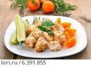 Купить «Куриный шашлык на тарелке со свежими овощами», фото № 6391855, снято 18 июля 2014 г. (c) Татьяна Волгутова / Фотобанк Лори