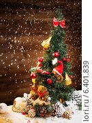 Купить «Christmas still life with teddy bears decorating tree», фото № 6401839, снято 3 сентября 2014 г. (c) Andrejs Pidjass / Фотобанк Лори