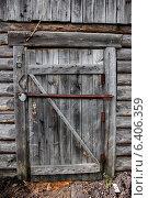 Купить «Старая неокрашенная дощатая дверь с засовом», фото № 6406359, снято 14 сентября 2014 г. (c) Наталья Осипова / Фотобанк Лори