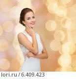Купить «smiling woman in white dress wearing diamond ring», фото № 6409423, снято 1 июня 2014 г. (c) Syda Productions / Фотобанк Лори