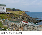 Купить «Boats at coast, Little Catalina, Bonavista Peninsula, Newfoundland And Labrador, Canada», фото № 6413591, снято 23 августа 2013 г. (c) Ingram Publishing / Фотобанк Лори