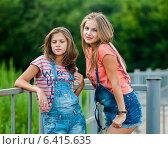 Купить «Две красивые девушки в джинсовых шортах стоят возле железного забора», эксклюзивное фото № 6415635, снято 17 июля 2014 г. (c) Игорь Низов / Фотобанк Лори