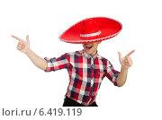 Купить «Funny mexican with sombrero in concept», фото № 6419119, снято 22 февраля 2014 г. (c) Elnur / Фотобанк Лори