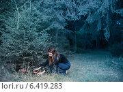 Купить «beautiful witch with mushrooms», фото № 6419283, снято 11 сентября 2014 г. (c) Майя Крученкова / Фотобанк Лори