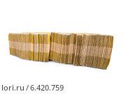 Купить «Stack of money isolated on the white», фото № 6420759, снято 13 января 2014 г. (c) Elnur / Фотобанк Лори