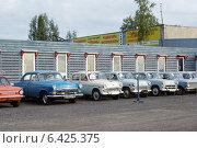 Волга победа несколько экземпляров в ряд советский авто-пром (2014 год). Редакционное фото, фотограф Мария Бурыхина / Фотобанк Лори