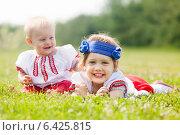 Купить «Happy children in russian folk clothes», фото № 6425815, снято 15 июня 2013 г. (c) Яков Филимонов / Фотобанк Лори