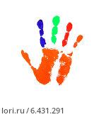 Купить «Разноцветный яркий отпечаток руки на белом фоне», иллюстрация № 6431291 (c) Константин Орлов / Фотобанк Лори