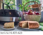 Купить «Шарлотка из яблок, приготовленная в мультиварке лежит на тарелочке на кухне. Отрезан один кусочек от пирога.», фото № 6431623, снято 23 сентября 2014 г. (c) Светлана Васильева / Фотобанк Лори