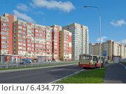 Купить «Автобусная остановка  в новом жилом микрорайоне. Новые жилые многоэтажные дома», эксклюзивное фото № 6434779, снято 22 сентября 2014 г. (c) Svet / Фотобанк Лори