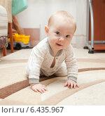 Купить «Six month old baby on the carpet», фото № 6435967, снято 16 сентября 2014 г. (c) Владимир Мельников / Фотобанк Лори
