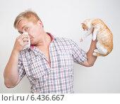Купить «Аллергия на животных. Мужчина отворачивается от кошки», фото № 6436667, снято 14 сентября 2014 г. (c) Типляшина Евгения / Фотобанк Лори