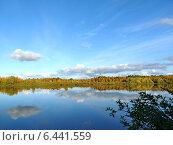 Купить «Река Ягенетта. Осенний пейзаж», фото № 6441559, снято 16 сентября 2014 г. (c) Николай Белецкий / Фотобанк Лори