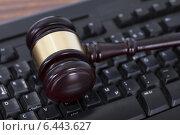 Купить «Mallet On Computer Keyboard», фото № 6443627, снято 7 мая 2014 г. (c) Андрей Попов / Фотобанк Лори
