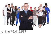 Купить «Full Length Of People With Different Occupations», фото № 6443987, снято 19 июля 2018 г. (c) Андрей Попов / Фотобанк Лори