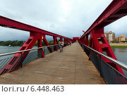 Footbridge over Ebre river in Tortosa, Spain (2014 год). Редакционное фото, фотограф Яков Филимонов / Фотобанк Лори