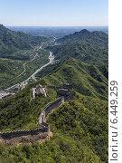 Купить «Участок Цзюйюнгуань Великой китайской стены и долина Гуаньгоу. На горизонте Пекин», фото № 6449259, снято 8 сентября 2014 г. (c) Rokhin Valery / Фотобанк Лори