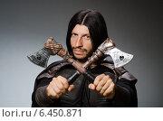 Купить «Knight with axe against dark background», фото № 6450871, снято 9 июля 2014 г. (c) Elnur / Фотобанк Лори