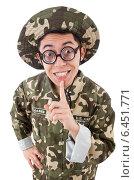 Купить «Funny soldier in military concept», фото № 6451771, снято 10 января 2014 г. (c) Elnur / Фотобанк Лори