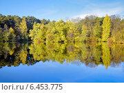 Купить «Осенний пейзаж с деревьями, отражающимися в воде», фото № 6453775, снято 18 августа 2019 г. (c) Михаил Марковский / Фотобанк Лори