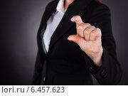 Businesswoman Showing Small Amount Gesture. Стоковое фото, фотограф Андрей Попов / Фотобанк Лори