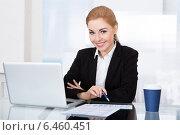 Купить «Portrait Of Happy Young Businesswoman», фото № 6460451, снято 11 января 2014 г. (c) Андрей Попов / Фотобанк Лори