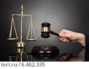 Judge With Gravel And Weight Scale At Desk. Стоковое фото, фотограф Андрей Попов / Фотобанк Лори