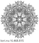 Купить «Круглый кружевной орнамент, контурный рисунок», иллюстрация № 6468815 (c) Олеся Каракоця / Фотобанк Лори