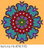 Купить «Круглый кружевной орнамент на оранжевом фоне», иллюстрация № 6474115 (c) Олеся Каракоця / Фотобанк Лори