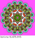 Купить «Круглый красочный цветочный орнамент на розовом фоне», иллюстрация № 6475915 (c) Олеся Каракоця / Фотобанк Лори