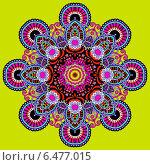 Купить «Круглый цветочный орнамент на зеленом фоне», иллюстрация № 6477015 (c) Олеся Каракоця / Фотобанк Лори