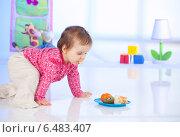 Купить «Little girl having a meal.», фото № 6483407, снято 22 мая 2019 г. (c) BE&W Photo / Фотобанк Лори