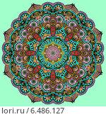 Купить «Круглый цветочный орнамент на светло-зеленом фоне», иллюстрация № 6486127 (c) Олеся Каракоця / Фотобанк Лори