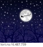 Купить «Санта Клаус в упряжке над лесом», иллюстрация № 6487739 (c) Мастепанов Павел / Фотобанк Лори