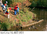 Мальчики в парке кормят уток в пруду (2010 год). Редакционное фото, фотограф Анастасия Козлова / Фотобанк Лори
