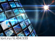 Купить «Curve of digital screens in blue», фото № 6494939, снято 19 июля 2019 г. (c) Wavebreak Media / Фотобанк Лори